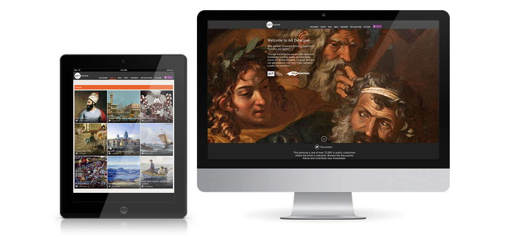 The Art Detective website shown on a tablet and desktop computer.