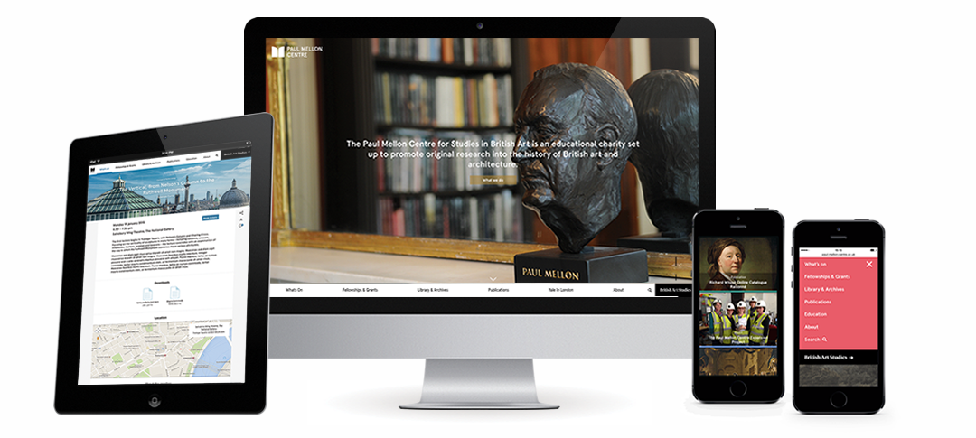 The Paul Mellon Centre website shown on a table, desktop computer, and phone.