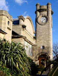 View of the Horniman Museum clock tower and part of the building.