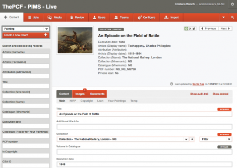 Screen of a painting record in qi collection management system.,Qi - Collection Management System
