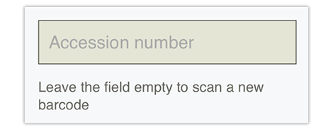 Accession number field in Qute,If you don't have a barcode you can just enter the accession number