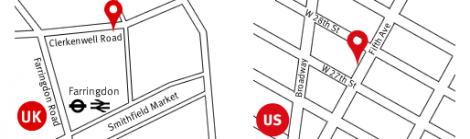 Map with Keepthinking offices location in UK and US