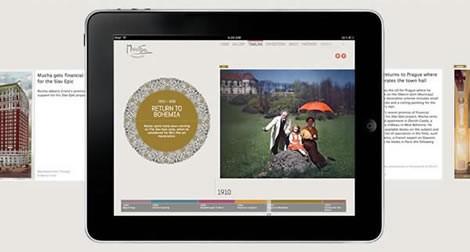 The Mucha Foundation timeline seen on an ipad,The Mucha Foundation timeline on an ipad