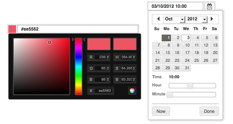Screen of the new colour picker and combined date and time picker,The new colour picker and combined date and time picker