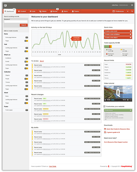 Screen of the dashboard in Qi,The dashboard