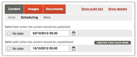 Screen of the content scheduling tab in Qi,Content scheduling in Qi
