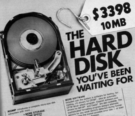 Old advert about a hard disk