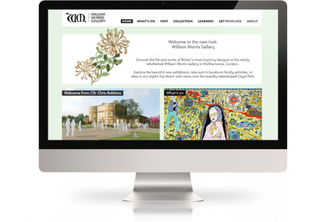 The William Morris Gallery website on a desktop computer., William Morris on a large screen