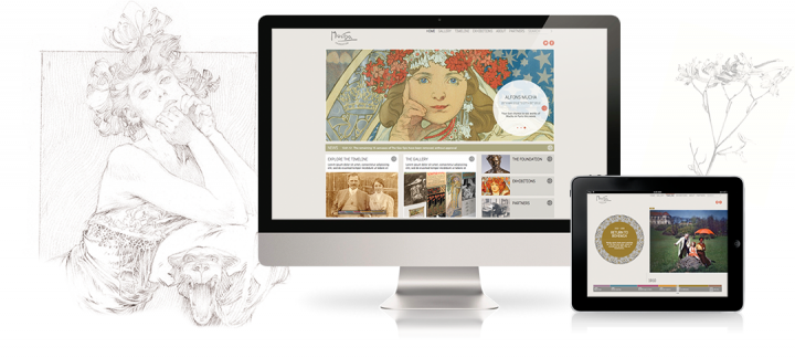 The Mucha Foundation website seen on a desktop computer and a tablet, Mucha's drawings decorate the background.