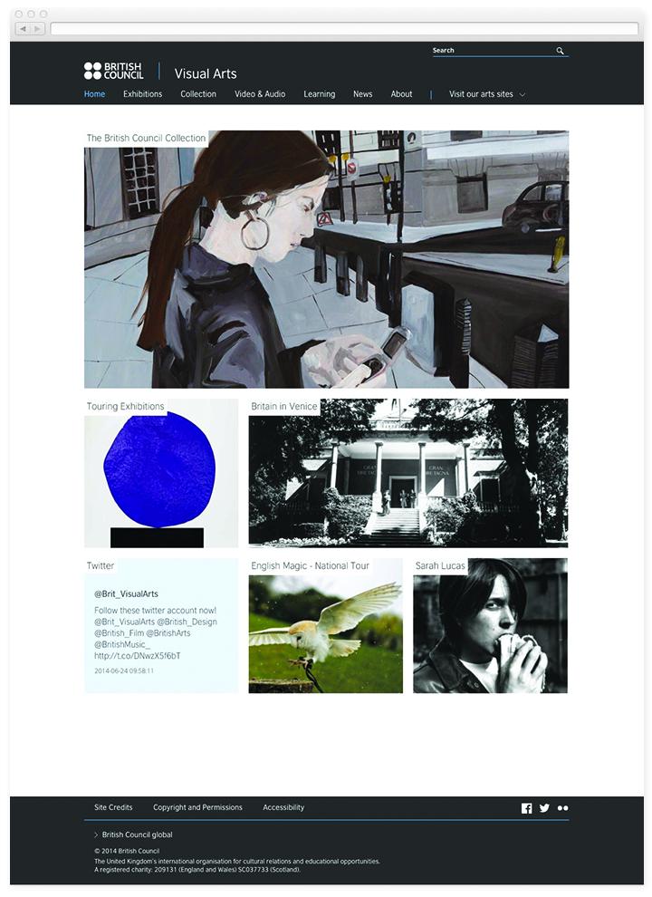 Screen of the British Council Visual Arts homepage.