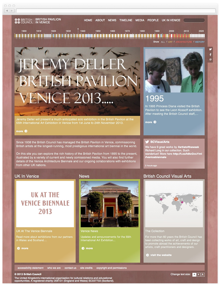 Screen of the homepage for British Pavilion in Venice website.