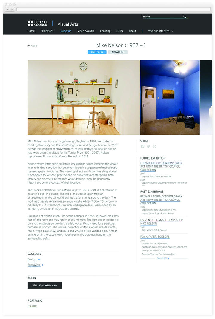 Screen of the British Council Visual Arts artist page.