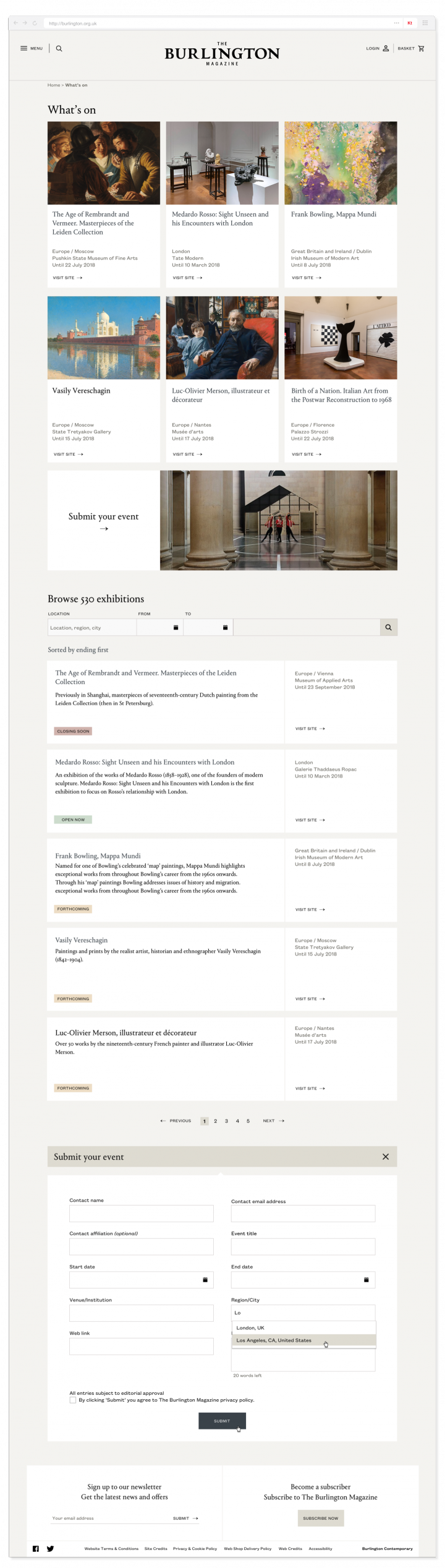 What's On page and listings