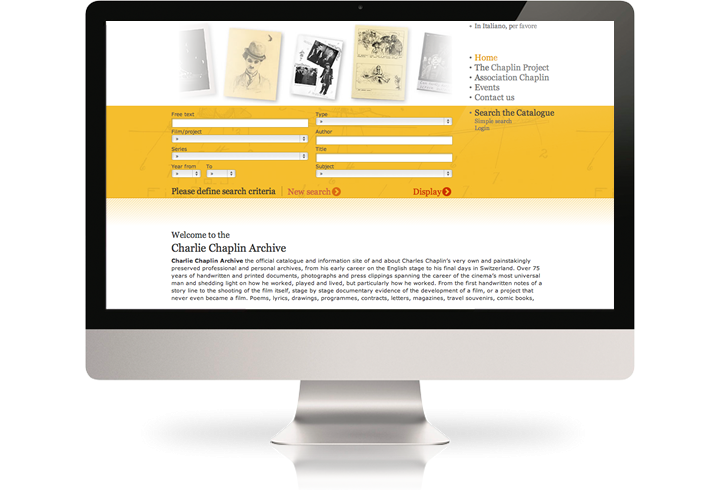 The Charlie Chaplin Archive website on a desktop computer.