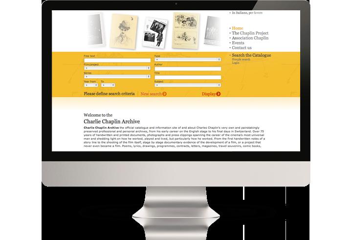 The Charlie Chaplin Archive website on a desktop computer.