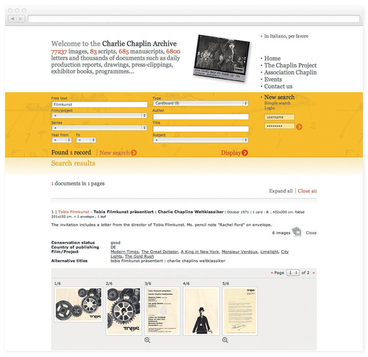 Screen of the Charlie Chaplin Archive search results page.