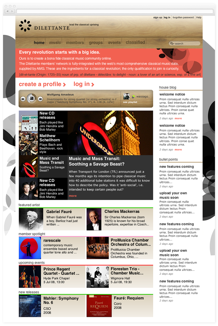 Screen of the Dilettante Music website homepage.