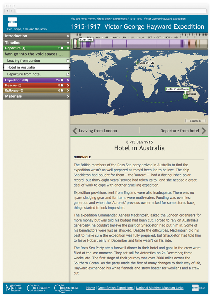 Screen of a chapter from the Stories with an interactive timeline and map.