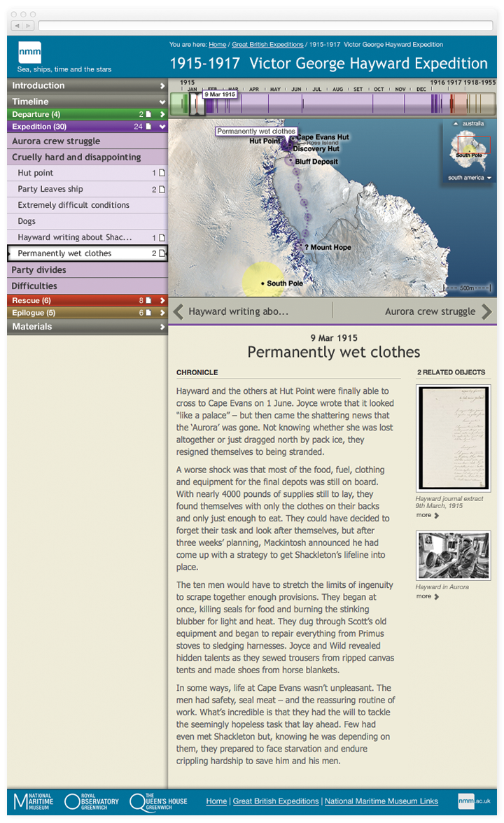 Screen of a chapter from the Stories with an interactive timeline and map and related items from the archives.