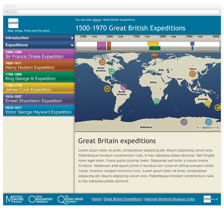 Screen of the Stories listing and world map.