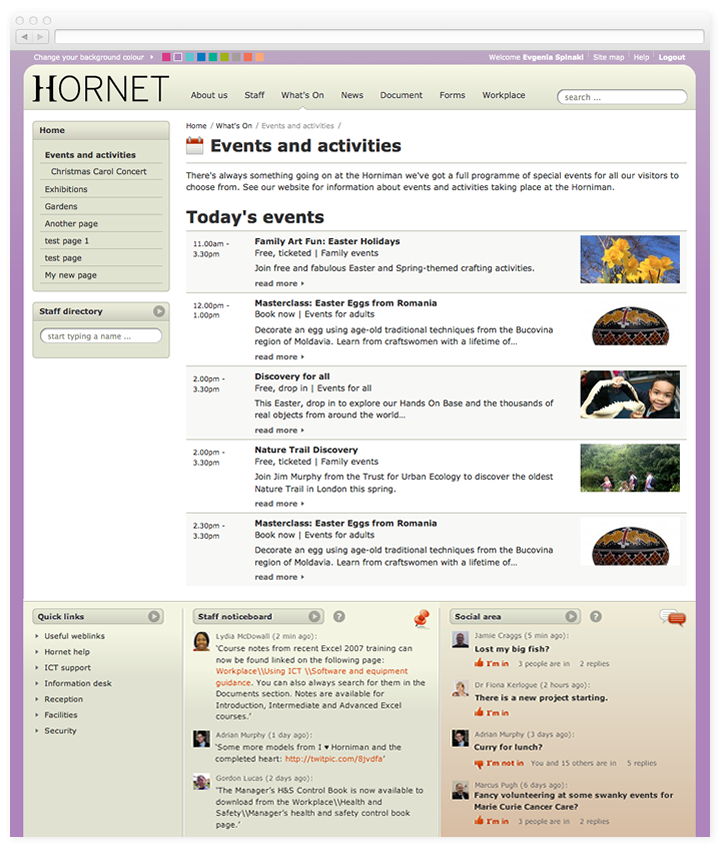 Screen of Hornet events and activities page.