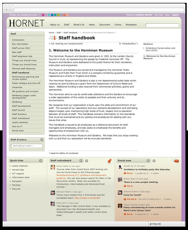 Screen of Hornet handbook page.