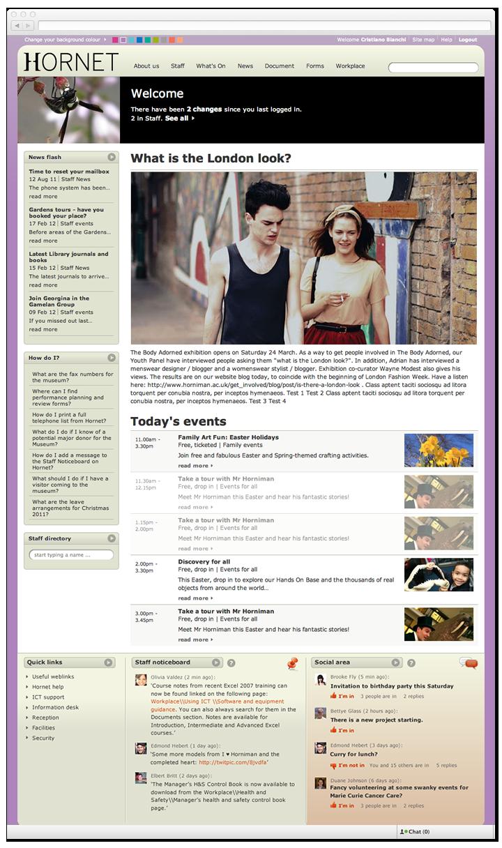 Screen of Hornet homepage.
