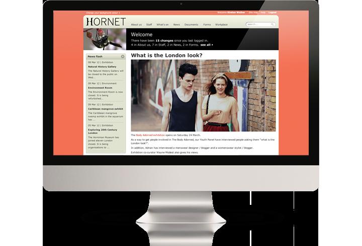 The Horniman Museum intranet (Hornet) on a desktop computer.