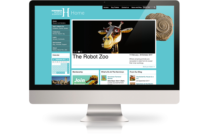 The Horniman Museum website on a desktop computer.