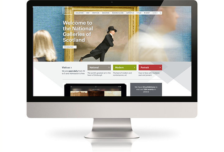 The National Galleries of Scotland website on a desktop computer.