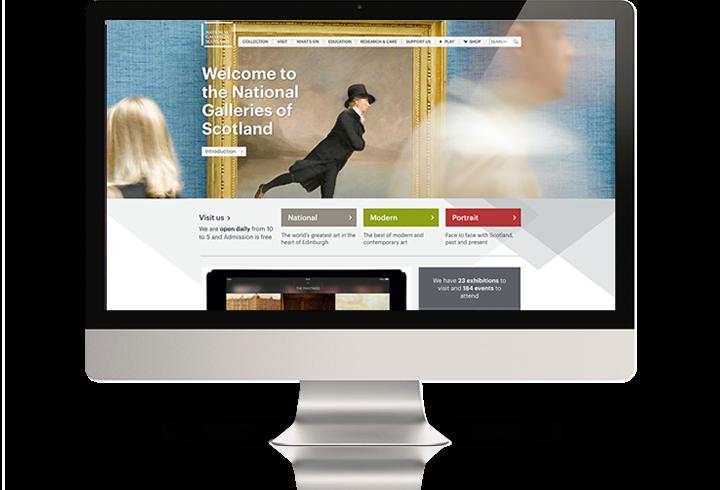 The National Galleries of Scotland website on a desktop computer.