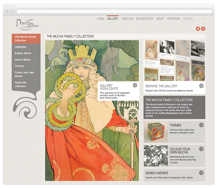 Screen of the Mucha Foundation gallery page.