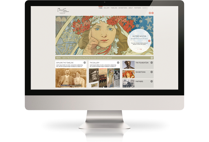 The Mucha Foundation website on a desktop computer.