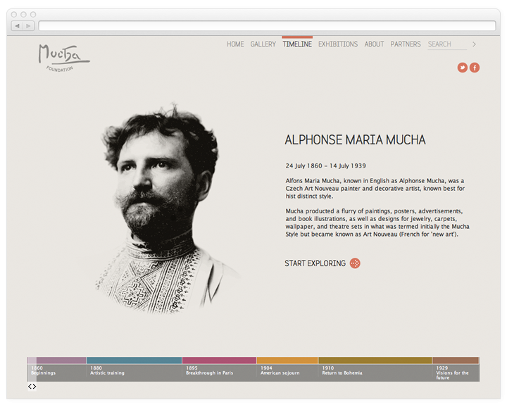 Screen of the Mucha Foundation timeline page.