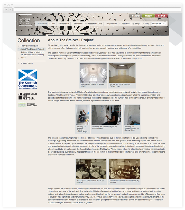 A screen of the National Galleries of Scotland in Focus page.