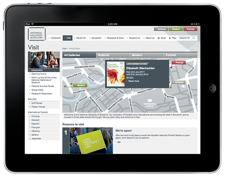 The National Galleries of Scotland website on a tablet.