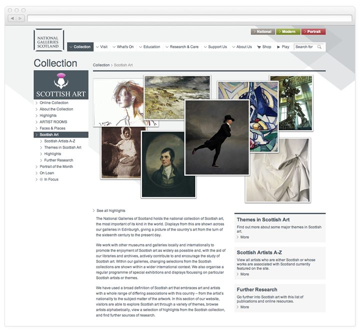 A screen of the National Galleries of Scotland Scottish Art page.