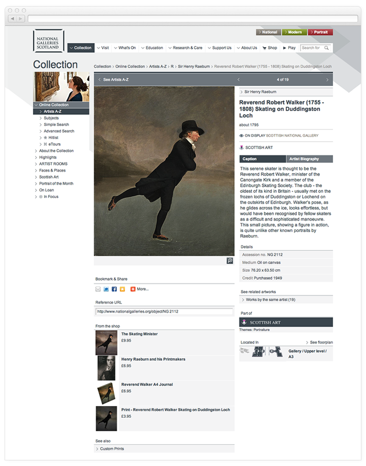 A screen of the National Galleries of Scotland work of art page.
