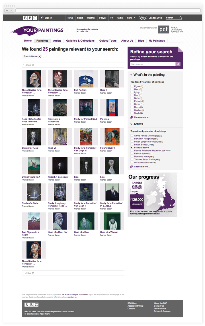 Screen of the BBC Your Paintings search results page.