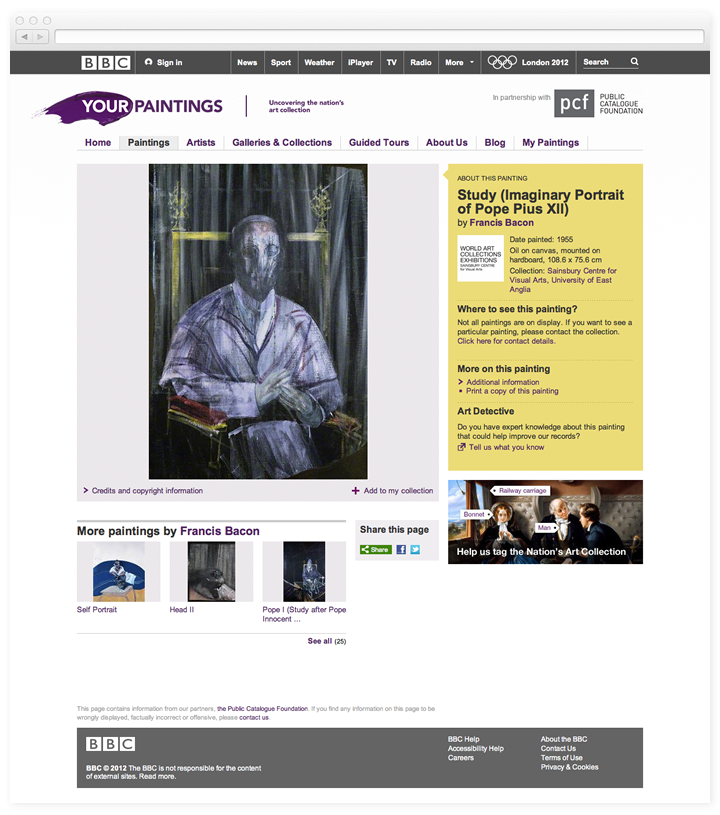 Screen of the BBC Your Paintings single painting page.