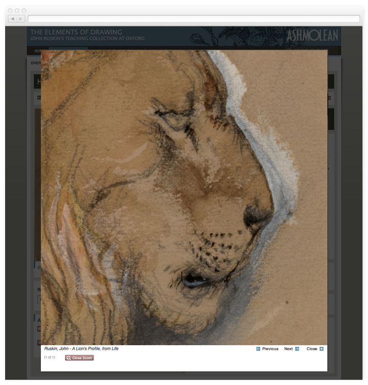 Screen of the zoom facility of a work of art on the Elements of Drawing website.