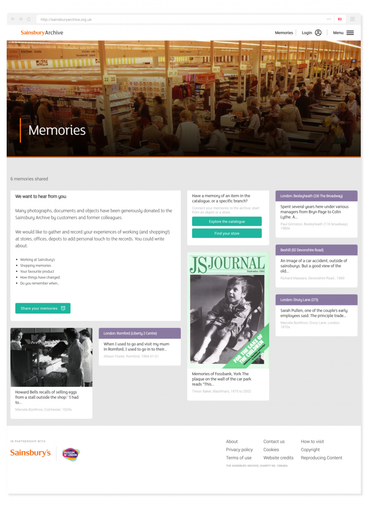 Sainsbury Archive memory landing page