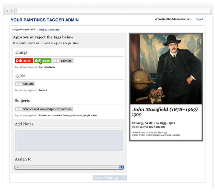 Screen of the Tagger Supervisor Interface with approved, rejected and waiting approval tags.
