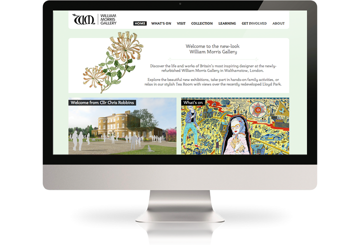 The William Morris Gallery website on a desktop computer.