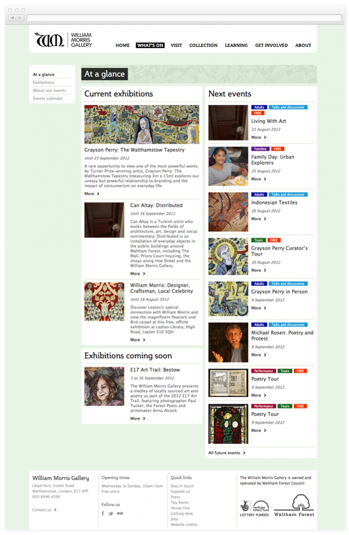 Screen of the William Morris Gallery what's on at a glance page