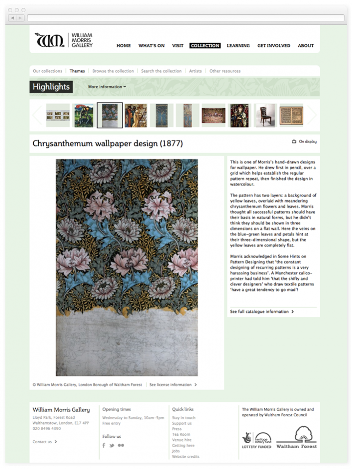 Screen of the William Morris Gallery work of Art within a theme
