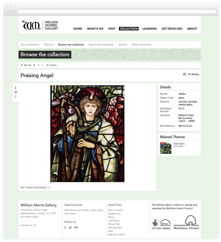 Screen of the William Morris Gallery work of art page